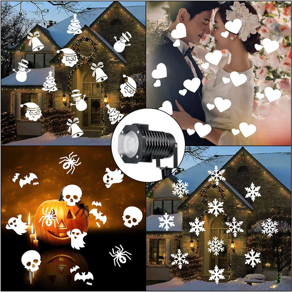 Christmas Light Projector, Indoor Outdoor Rotating Night Light Projector Snowflake Spotlight, 10 Slides White Dynamic Lighting Landscape Led Projector Light Show Party, Holiday Decoration