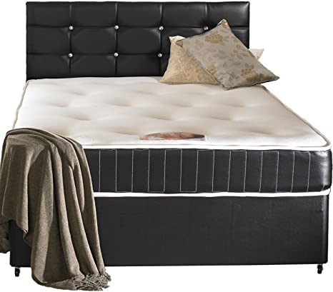 Faux Leather Small Double Divan Bed Including Luxurious Memory Foam Mattress, Headboard And 2 Drawer Storage (4x6'3 Small Double)