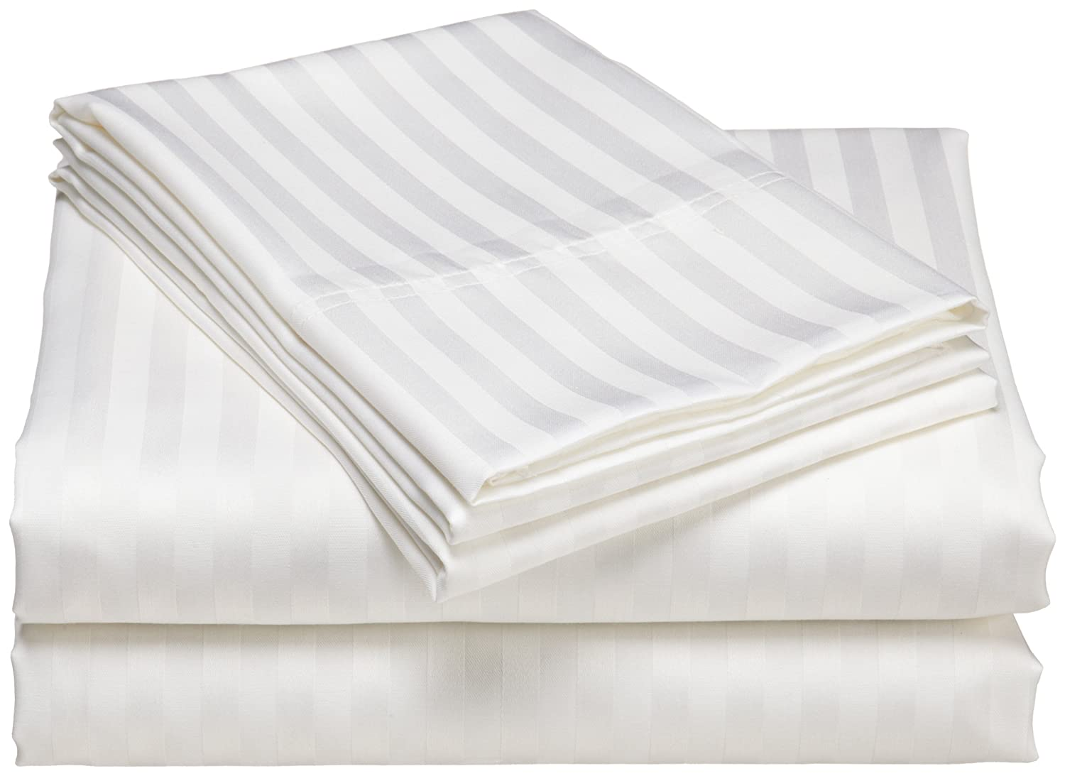 home wrinkle resistant 300 thread count woven stripe cotton sheet set