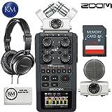Zoom H6 Digital Handy Recorder (Black) + 32GB SD Memory Card + Headphones + K&M Micro Fiber Cloth Bundle