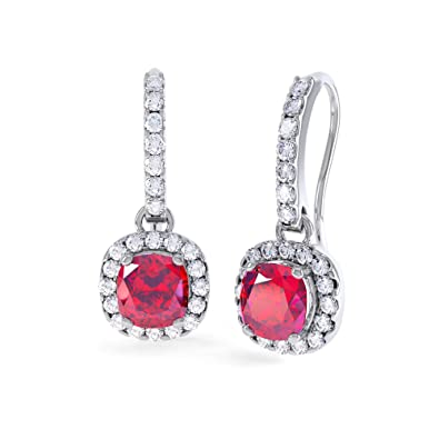 Princess 2ct Ruby and Diamond Halo Silver Pave Drop Earrings (WHITE GOLD)