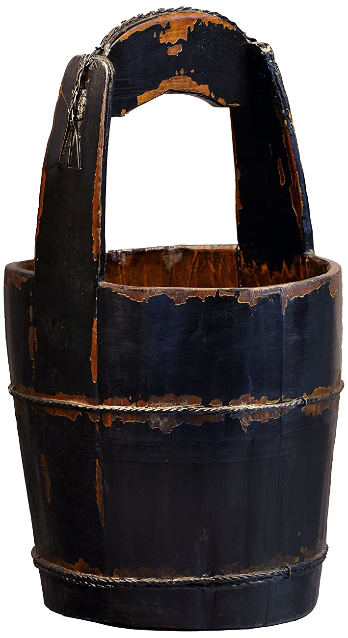 Antique Revival Ridged-Handle Wooden Water Bucket, Black 0