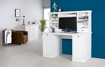 'Natura Ufficio Tavolo Scrivania con top stile country bianco 141x 66x 9cm