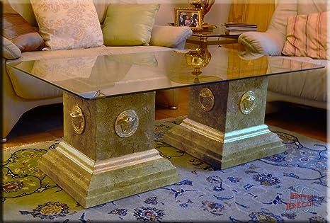 Designer Couchtisch Medusa Marmor Optik Wohnzimmertisch Tisch Glastisch