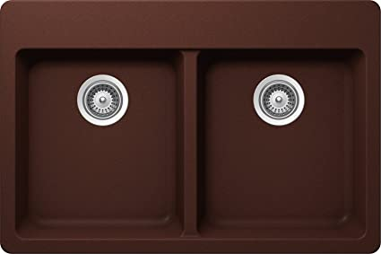SCHOCK ALIN200T009 ALIVE Series CRISTALITE 50/50 Topmount Double Bowl Kitchen Sink, Copper