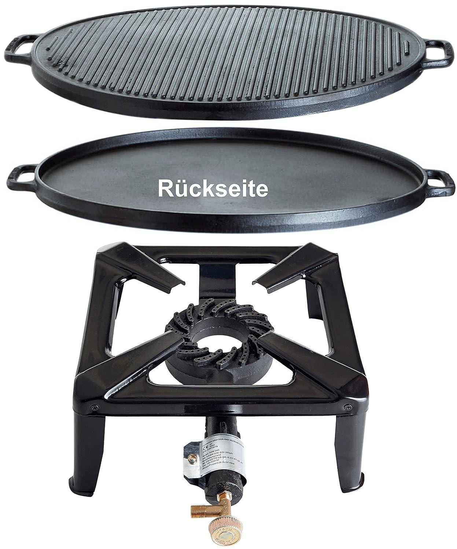 Hockerkocher mit 8.5 kW Leistung, Abmessung 40x40x17cm und Gusseisengrillplatte Ø 55 cm jetzt bestellen