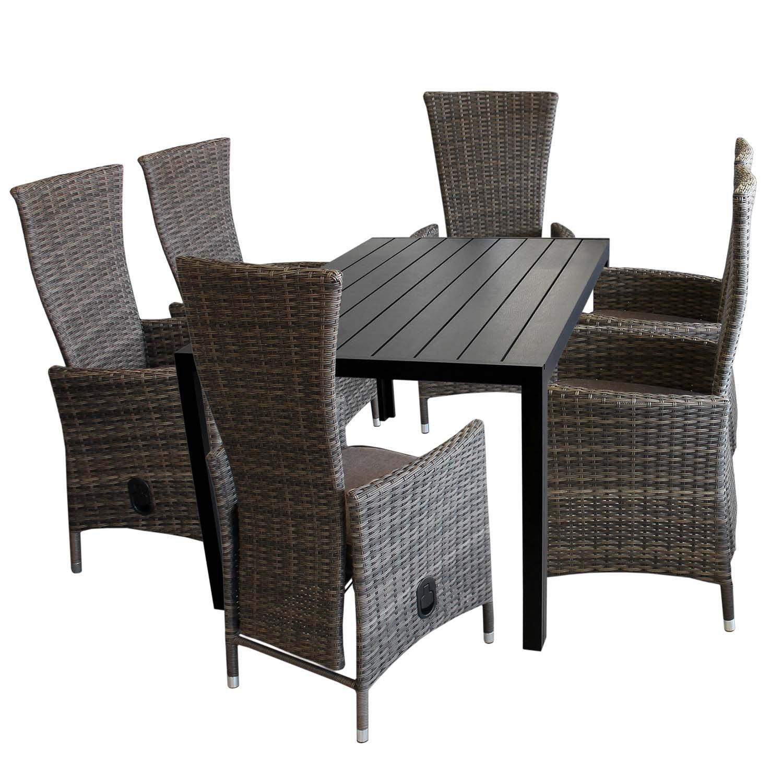 7tlg. Gartengarnitur Aluminium Gartentisch mit schwarzer Polywood Tischplatte 150x90cm + 6x verstellbare Poly Rattansessel braun-meliert Sitzgruppe Sitzgarnitur Balkonmöbel Terrassenmöbel Set