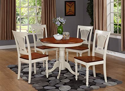 East West Furniture ANPL5-WHI-W 5-Piece Kitchen Table Set, Buttermilk/Cherry Finish
