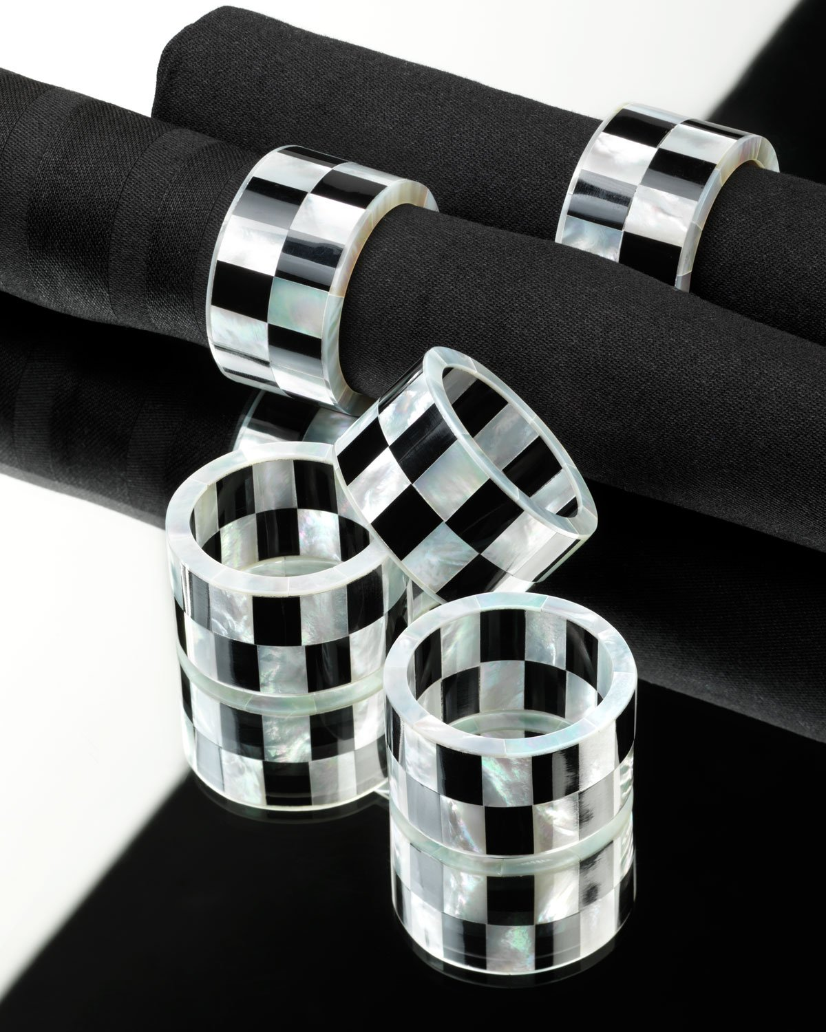 Pearl White and Black Deco Check, Mother of Pearl Napkin Rings