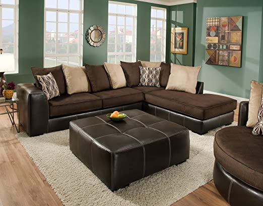 Chelsea Home Furniture Hughe 2-Piece Sectional, San Marino Mocha/Martin Chocolate/Coffee/Peppercorn