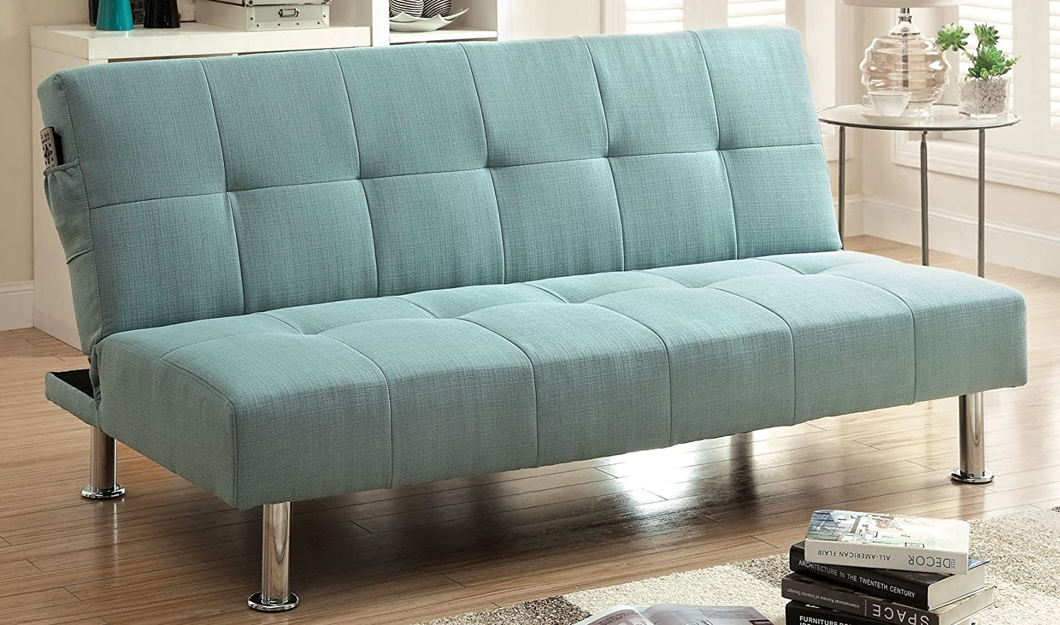Furniture of America Contemporary Benjie Futon Sofa - Blue