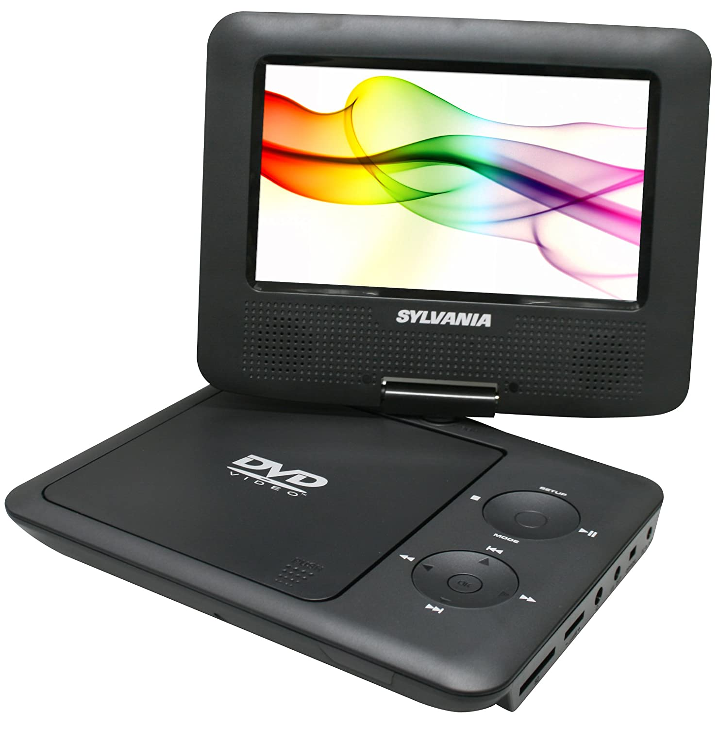 sylvania 7 inch portable dvd player with swivel screen car bag black color ebay. Black Bedroom Furniture Sets. Home Design Ideas