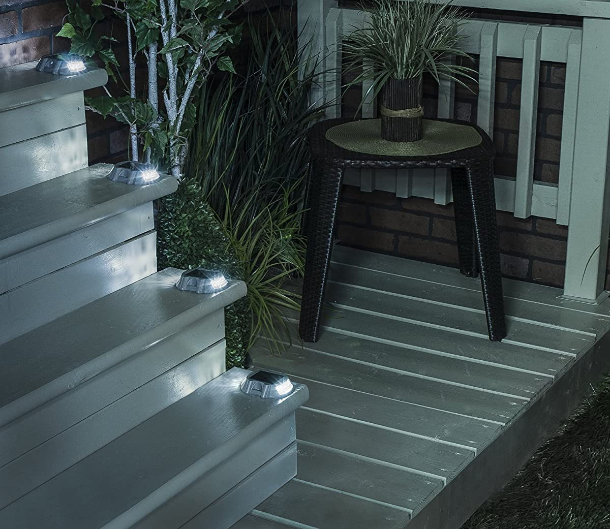 Solar Powered LED Marker Lights- Set of 4- Decorative Aluminum Lamps- Wireless Outdoor Security Light- Garden Decor Accent Lighting- Best for Driveway, Dock, Stairway, Path, Deck, Step, Pool, Patio