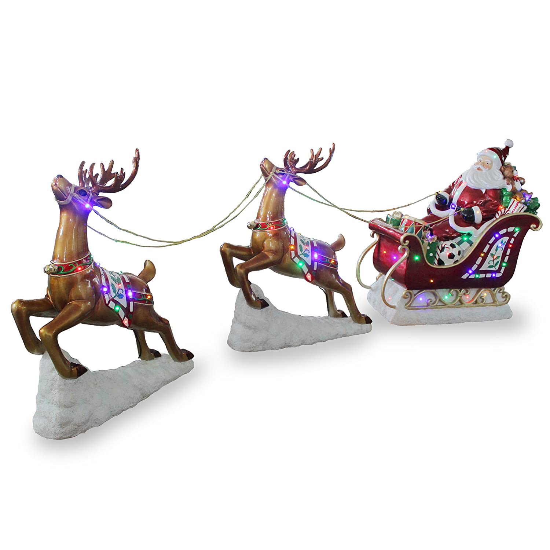 National Tree Santa on Sleigh with Reindeer, 42-Inch