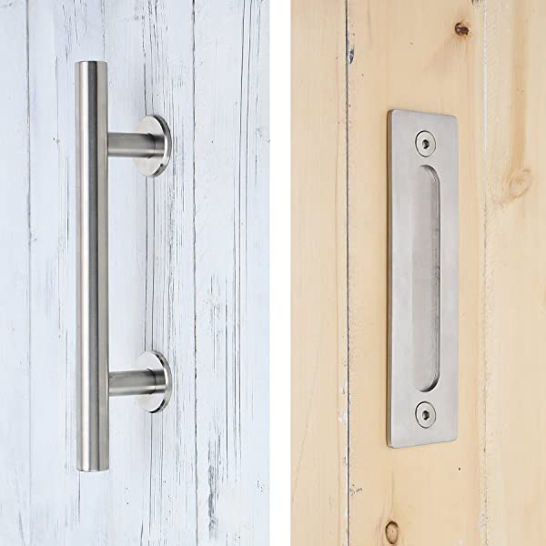 FaithLand Barn Door Handle Pull Handle for Sliding Barn Door Gate Cabinet Closet Drawer Garage Shed- 2 Sets of Different Lengths Screws Included Door Pull Black 10 inch Gate Handle