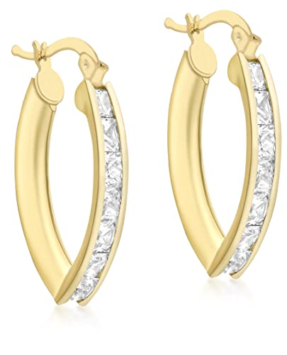 Carissima Gold 9ct Yellow Gold V Shaped Cubic Zirconia Creole Earrings