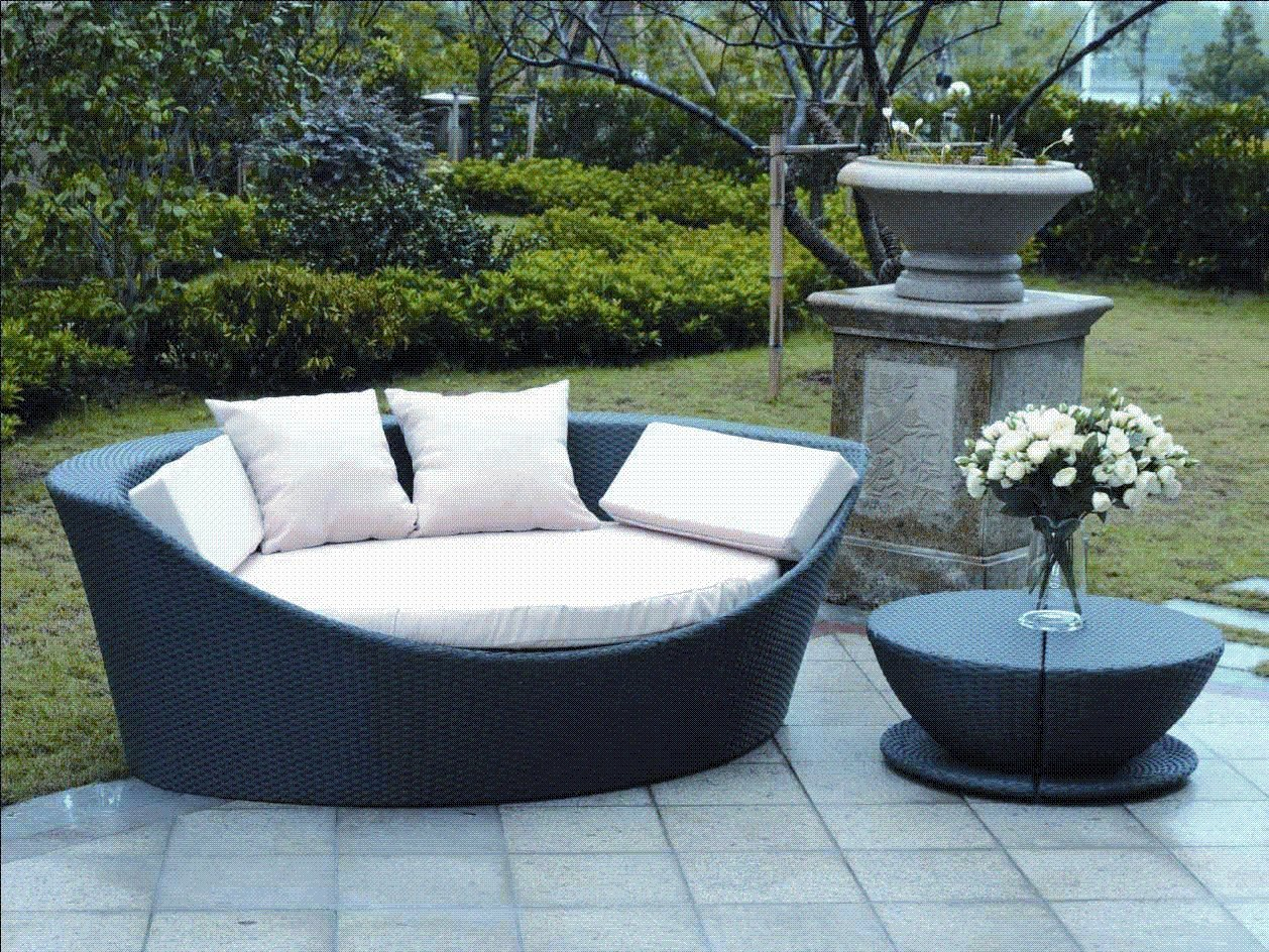 rattan gartenm bel lounge sonnenliege korfu 1 teilig grau. Black Bedroom Furniture Sets. Home Design Ideas