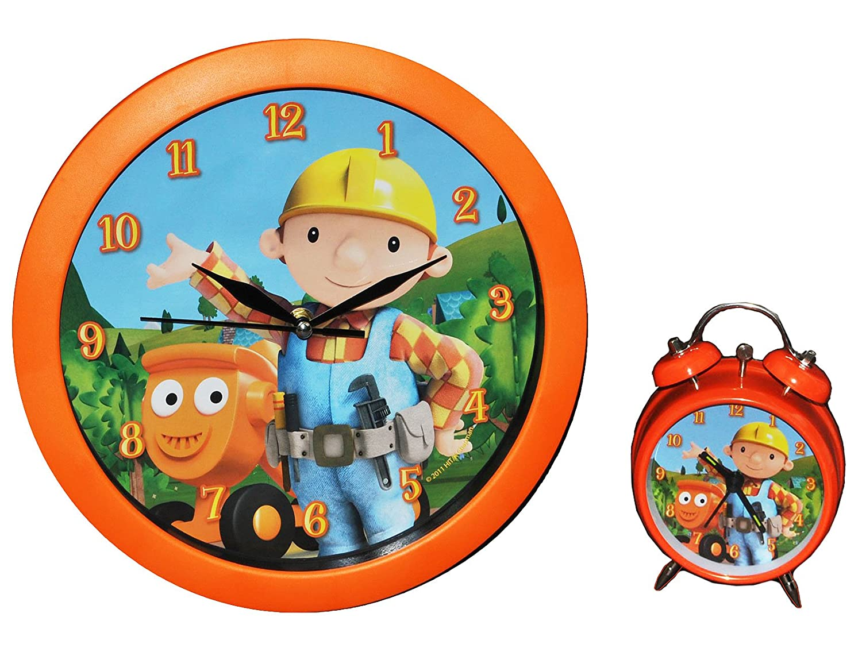 2 tlg. Set: Wanduhr + Wecker Bob der Baumeister – für Kinderzimmer Kinderuhr – Analog Wendy Baustelle Baufahrzeuge Jungen blau bestellen