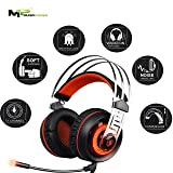 Sades 7.1 Surround sound Stereo Gaming USB with Noise Isolation Microphone and Vibration effect for PC Games Headset (Color: Orange)
