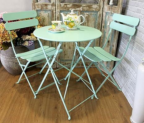 Mesa y sillas de jardín de hierro color Acquamarina