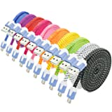 Micro USB Charger, Besgoods 10PCS Long (2m/6ft) Colorful High Speed Fast Durable Nylon Braided Micro USB Charging Data Cable for Android, Samsung Galaxy S6 edge/Note 5, HTC, LG, and more