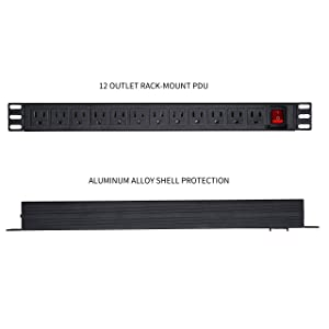 Leopardprintfans Network Grade 12 Right Angle Outlets Rackmount PDU Power Strip with 6ft Cord, Surge Protector 15A/125V, Black (Color: PDU 12 AC, Tamaño: 12 AC Outlets)