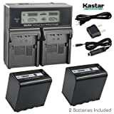 Kastar LCD Fast Charger + Battery 2x for Panasonic AG-VBR89G AG-VBR59 AG-VBR118G AG-BRD50 AG-B23 AG-DVX200 AG-AC8 AG-AC90A AG-DVC30 AG-HPX250 HPX255 AJ-PX230 AJ-PX270 AJ-PX298 AJ-PG50 HC-MDH2 HC-X1000 (Tamaño: 2 batteries + 1 fast charger)