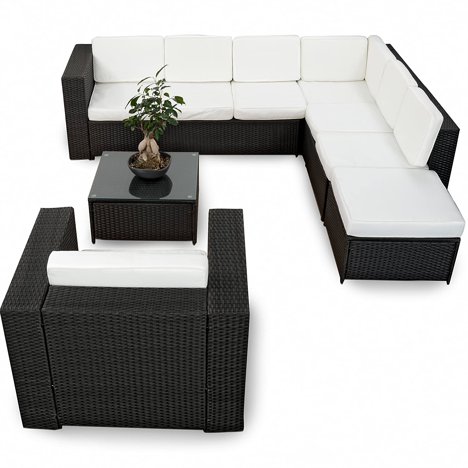 xinro 23tlg gartenm bel lounge set g nstig 1x 1er lounge sessel loungem bel polyrattan. Black Bedroom Furniture Sets. Home Design Ideas