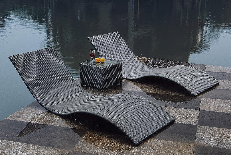 CALYPSO: 3tlg. Liegen - Set mit Beistelltisch, Polyrattan dunkelgrau