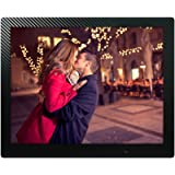 15 inch HD Digital Picture Frame Carbon Fiber - 1080p High Definition Electronic Photo & Video With 16GB Memory, Motion Sensor, Built-In Speakers & Remote Control - (Black)