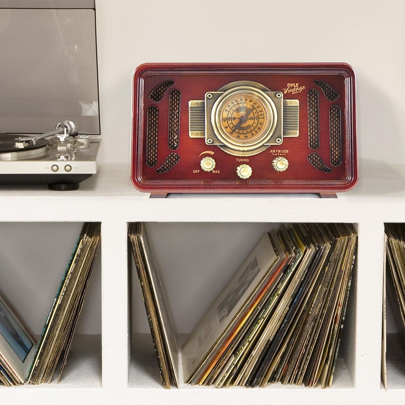 Pyle PUNP34BT Vintage Retro Classic Style Bluetooth Radio Sound System, USB/SD Readers, AM/FM Radio 5