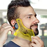Manecode Beard Shaping Tool - Trimming Shaper Template Guide for Shaving or Stencil With Full-Size Comb for Line Up and Maintain Accurate Lines - Clear Yellow to Increase Visibility (Color: Yellow)
