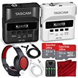 Tascam DR-10L & DR10LW Digital Audio Recorder W/Lavalier Mics 2X 32 GB, 2X Headphones Bride Groom Deluxe Bundle (Color: Black & White, Tamaño: Dual)