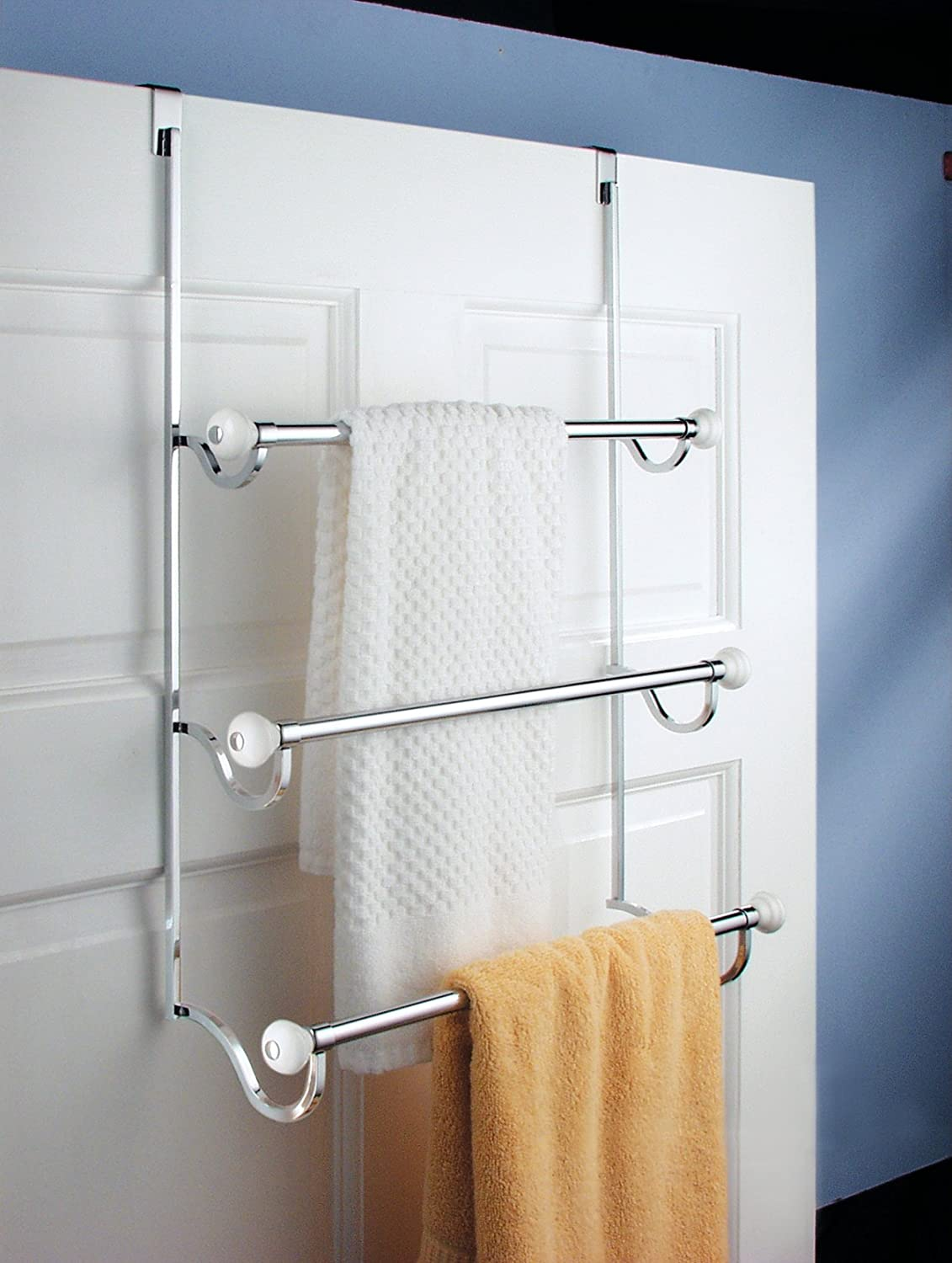 interdesign york over the shower door 3 bar towel rack white and chrome new ebay. Black Bedroom Furniture Sets. Home Design Ideas
