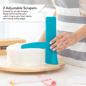 Cake Feast Decorating Kit - Includes Cakes Scraper Comb, Adjustable Icing Scraper Tools, Decor Modelling and Fondant Smoother, Decorator Pen - Professional Baking and Pastry Supplies - 20 Pieces Set