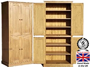 Solid Pine Storage Cupboard, Handcrafted & Waxed 4 Door Pantry, Larder, Linen, Filing, Dual Storage Kitchen or Hallway Cabinet. Choice of Colours. No flat packs, No assembly (CUP114)       review and more information