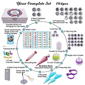Russian Piping Tips Set -104pcs Cake Decorating Supplies - - 46 Icing Piping Tips (22 Russian+21 Icing+3 Leaf Tips), Cake & Cupcake Decorating Kit with Pattern Chart & Ebook User Guide
