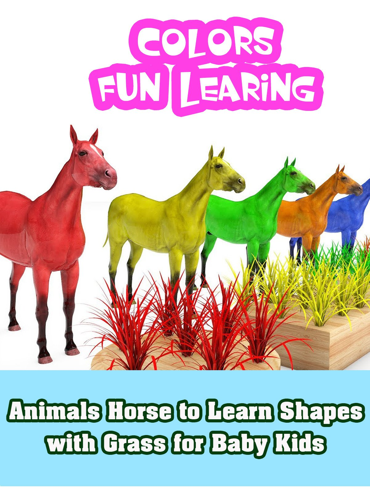 Animals Horse to Learn Shapes with Grass for Baby Kids