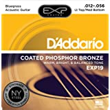 D'Addario EXP19 Coated Phosphor Bronze Acoustic Guitar Strings, Light, 12-56 - Offers a Warm, Bright and Well-Balanced Acoustic Tone and 4x Longer Life - With NY Steel for Strength and Pitch Stability (Color: Light Top / Medium Bottom | EXP19, Tamaño: Bluegrass Lt. Top/Med. Bottom, 12-56)