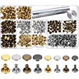 240 Sets Leather Rivets, Alritz Double Cap Rivet Tubular 4 Colors 2 Sizes Metal Studs with Fixing Tools for DIY Craft/Clothes/Shoes/Bags/Belts Repair and Decoration