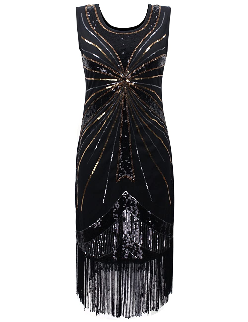 PrettyGuide Women's 1920s Vintage Beads Sequin Fireworks Fringed Flapper Gatsby Dress 0
