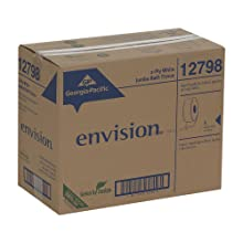 "Georgia-Pacific Envision 12798 White 2-Ply Jumbo Jr. EPA Compliant Bathroom Tissue, 1000' Length x 3.5"" Width (Case of 8 Rolls)"