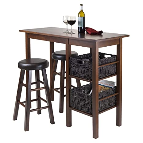 Winsome Wood Egan 5-Piece Table with 2 Round 24-Inch Cushion Stools and 2 Baskets
