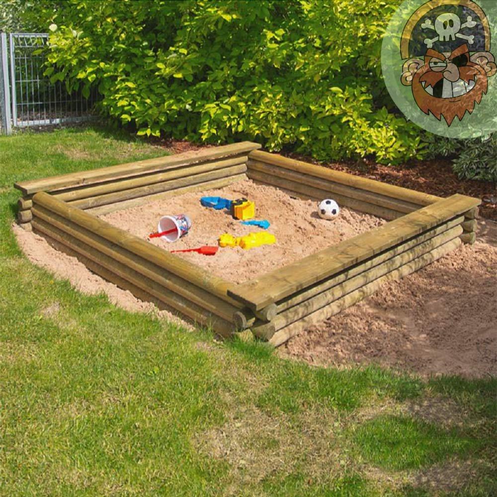 Sandkasten 180x180 cm aus Rundholz Ø 7 cm von Gartenpirat®