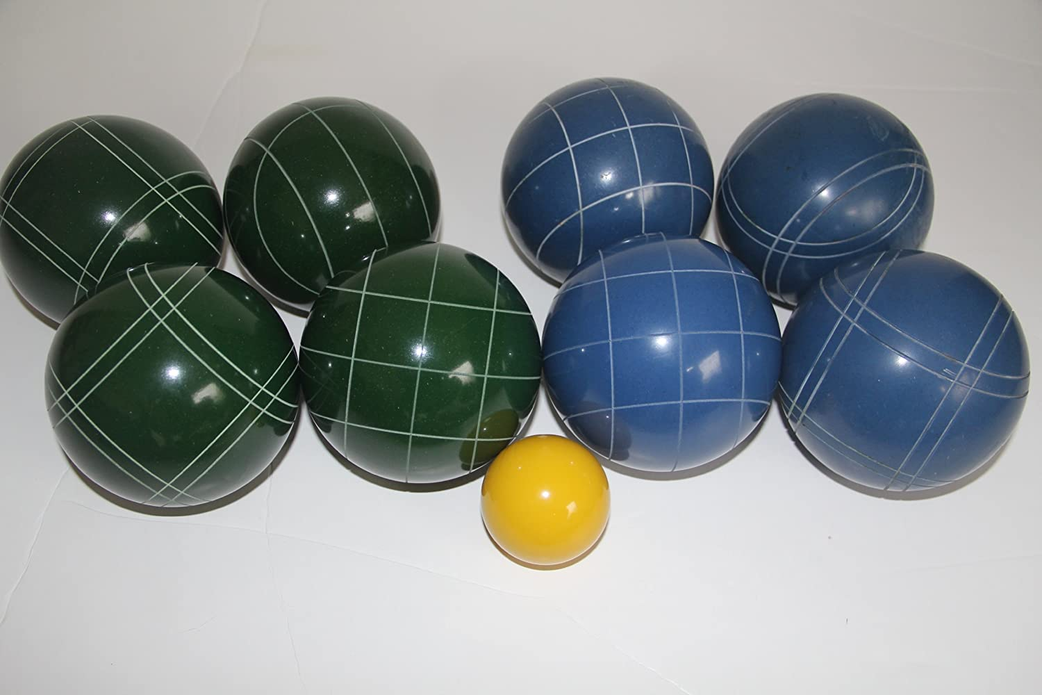 Premium Quality EPCO Tournament Bocce Set - 110mm Blue and Green Bocce Balls ...