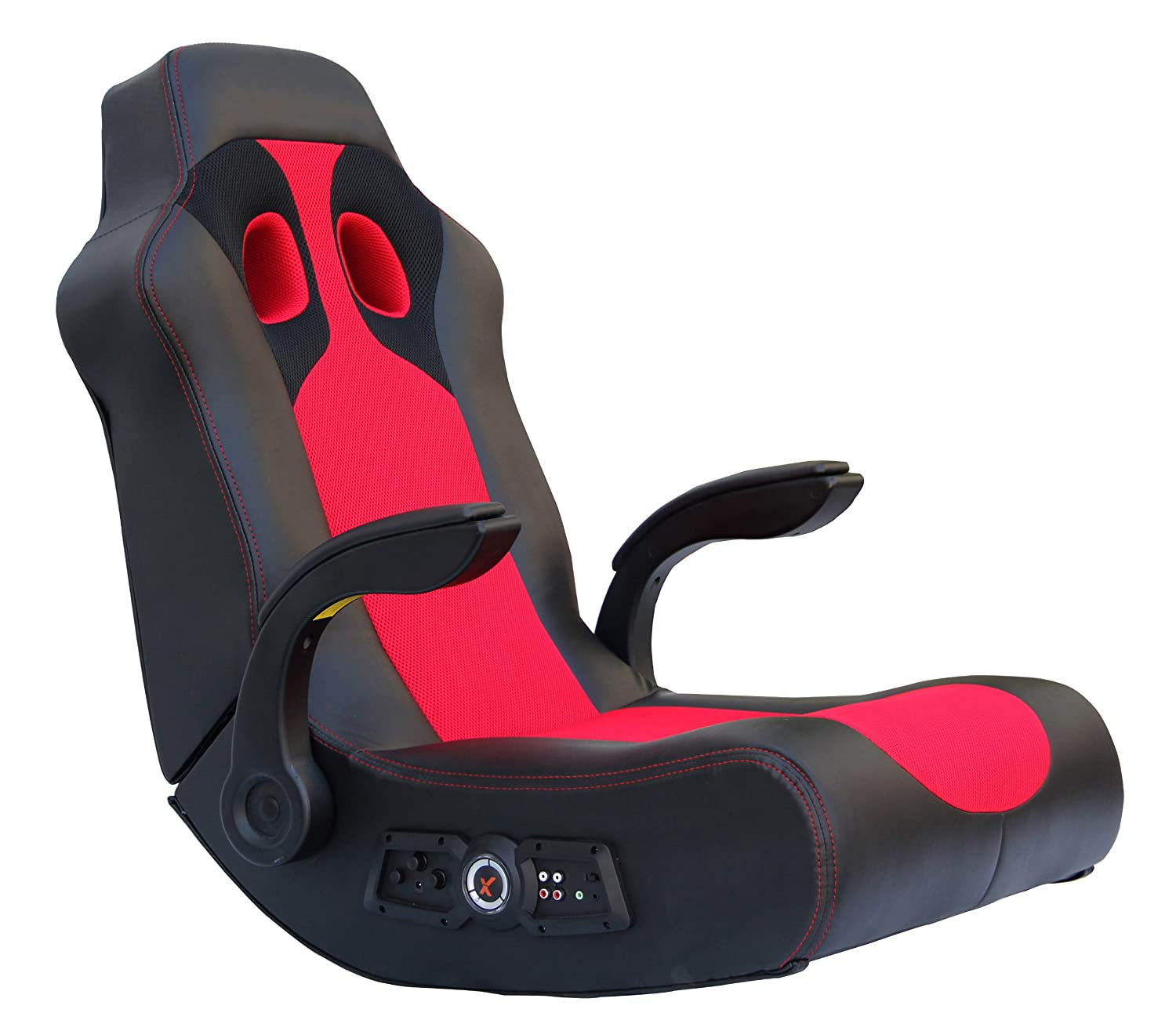 X Rocker Ace Bayou Vibe Sound Chair with Arms, Black/Red