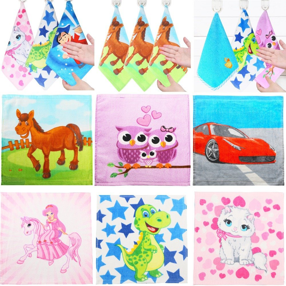 100% Cotton 2015 NEW Cute Animal Kids Children Cartoon Absorbent Hand Dry Towel Lovely Towel For Kitchen Bathroom Use 1PCS/Lot
