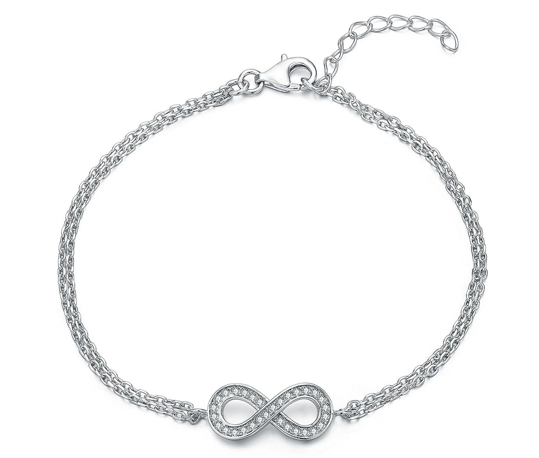"Geschenk für Weihnachten ""LOVERS-Geschenkset/Women's Beautiful 925 er Silber INFINITY-Armband einfache Armband/Freundschafts-Armband mit farbigem Geschenkkarton. günstig bestellen"