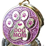 Dog Mom - Pink Glitter Gold Plated - A True Friend Leaves Paw Prints On Your Heart Keychain Paw Print (Color: Pink)