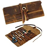 Leather Tool Roll Up Pouch - Leather Tool Pouch Wrench Roll/Chisel Bag By Rustic Town (Color: Brown, Tamaño: Small)